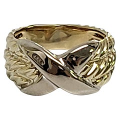 David Yurman 14K Yellow and White Gold Crossover X 3 Row Cable Ring