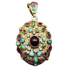 Garnet Turquoise Amethyst Locket Pendant Austro-Hungarian Renaissance Revival