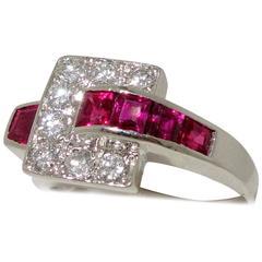 Burma Ruby Diamond Platinum Ring