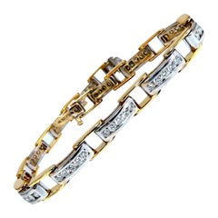 2.80ct Natural Round Diamonds Arch Link Channel Set Two-Tone Bracelet 14kt Gold