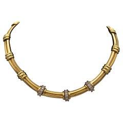 Tiffany & Co. Atlas Diamond Station Choker Necklace 18k Yellow Gold + Plat