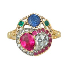 Antique Late 18th Century Gold and Multi-Gemstone Double Heart Ring