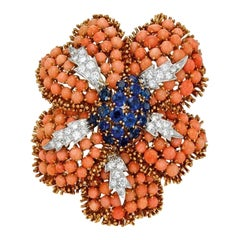 David Webb Coral & Gemstone Flower Brooch-Pendant
