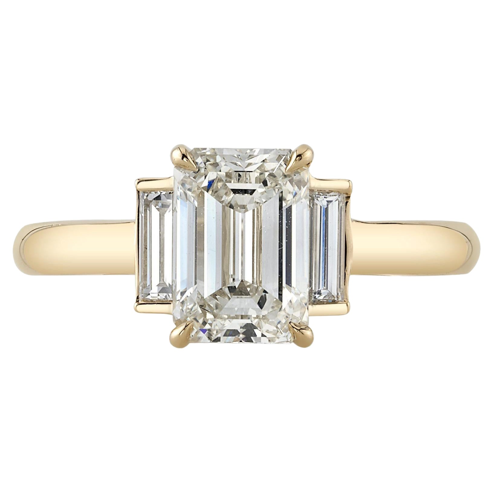 Handcrafted London Emerald Cut Diamond Ring by Single Stone