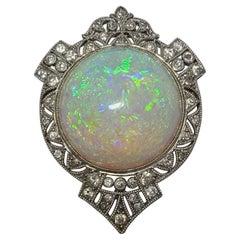 Fabulous Art Nouveau Black Starr Frost Platinum Filigree 100ct Australian Opal