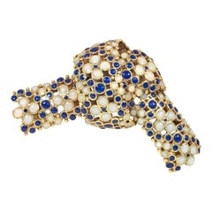 Tiffany Mid-Century Gold and Blue and White Enamel Bow Knot Brooch