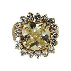 14K Yellow Gold Quartz & Diamond Ring 1.50tdw, 14g