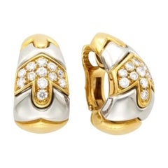 Bulgari Two-Color Gold Hoop Earrings with Diamonds