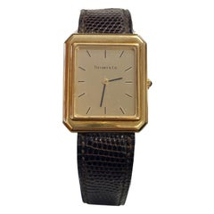 Unisex Tiffany & Co. Rectangular 18k Gold Watch with Original Leather Strap