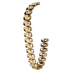 14 Karat Yellow Gold Vintage Ribbed Spiral Link Bracelet