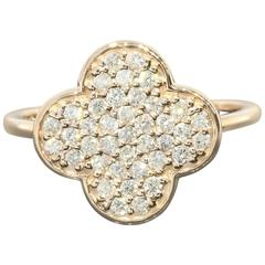 Diamond Pave Gold Clover Ring