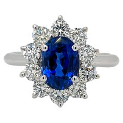 Sapphire & Diamond Halo Cluster Ring in 18K White Gold