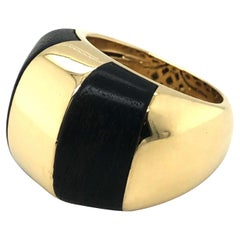 18 Karat Yellow Gold and Wood Cocktail Ring, 1990s