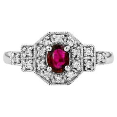 Catherine Oval Ruby with Diamond Art Deco Style Cluster Ring in Platinum