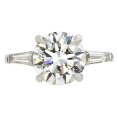 GIA Certified 2.01 Carat Round Brilliant Cut Diamond Ring