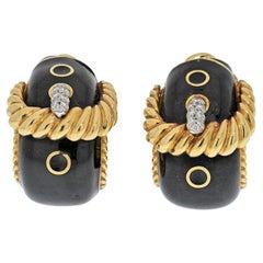 David Webb Platinum & 18K Yellow Gold Buckle Black Enamel Diamond Earrings