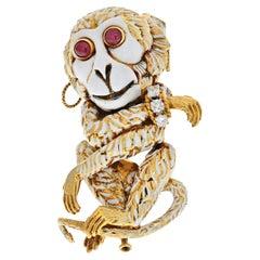 David Webb 18K Yellow Gold White Enamel Gypsy Monkey Brooch