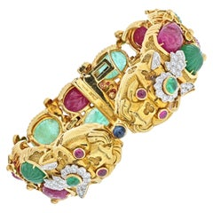 David Webb Carved Ruby, Emerald Double Headed Dragon Bracelet