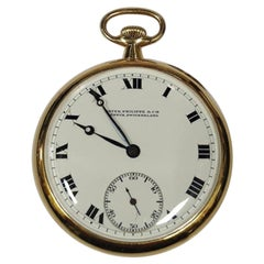 Patek Philippe Scarce 20j 18K Gold Roman Numeral Mens Pocket Watch