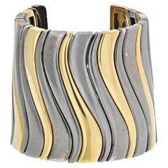 Marina B. 18KYellow Gold And Darkened Stainless Steel Large Cuff Bangle Bracelet