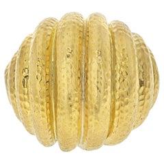 David Webb Platinum & 18K Yellow Gold Hammered Domed Rigid Style Ring