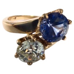 GIA .76ct Old Euro Diamond Bypass Ring .85ct Natural Sapphire Solid Gold Ring