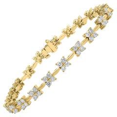 3.02 Carat Round Diamond Tennis Bracelet in 14K Yellow Gold