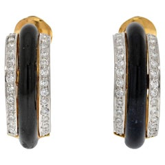 David Webb Platinum & 18K Yellow Gold Black Enamel Diamond Hoop Earrings