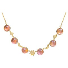 Pink Tourmaline, Diamond and 18kt Gold Necklace by Lauren Harper