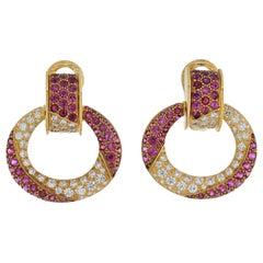 David Webb Platinum & 18K Yellow Gold Diamond, Ruby Doorknocker Clip Earrings