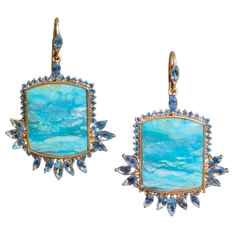 Aquamarine, Opalized Wood, 18kt Gold Earrings by Lauren Harper For Sale