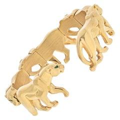 Cartier 18K Yellow Gold Walking Panthere Nakoura Cuff Bracelet