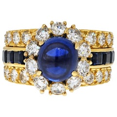 Van Cleef & Arpels 18K Yellow Gold Cabochon Blue Sapphire and Diamond Ring