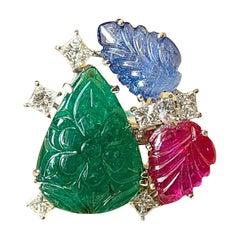 Natural Emerald, Blue Sapphire, Ruby & Diamonds Tutti-Frutti Style Cocktail Ring
