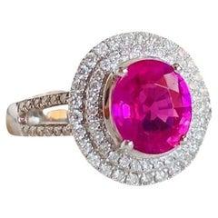 Pink Padparadscha 1.65 Carat Sapphire 18 Karat White Gold