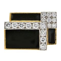 David Webb Black Enamel and Diamond Articulated Ring