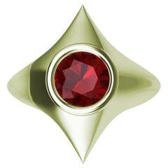 18 Karat Green Gold Rhombus Ruby Sculpture Ring