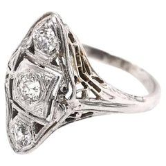 Art Deco Diamond Filigree Ring