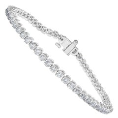 2.92 Carat Round Cut Diamond Tennis Bracelet in 14K White Gold
