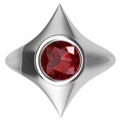 Platinum Rhombus Ruby 1.13 Carat Sculpture Ring