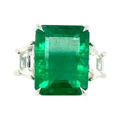 6.47 Carat Emerald Cut Emerald and Diamond Ring in 18 Kt White Gold