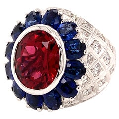 18kt White Gold One of a Kind Ring with 5 Ct Rubellite, Blue Sapphires, Diamond