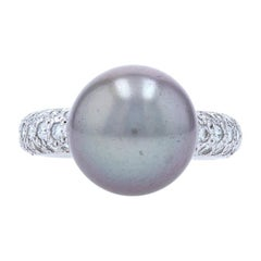 Cartier Tahitian Pearl & Diamond Ring White Gold, 18k Round .90ctw