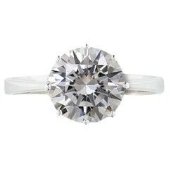 3 Carat Round Brilliant Cut Diamond Engagement Solitaire Ring