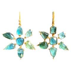 Green Tourmaline, Apatite, 18kt Gold Earrings by Lauren Harper