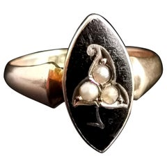 Antique Navette Mourning Ring, Black Enamel and Pearl, Ivy Leaf, 9k Yellow Gold