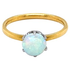 Vintage Tiffany & Co 18K Yellow Gold Opal Solitaire Ring Engagement Ring