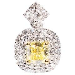 Certified Cushion Yellow Diamond and White Diamond Halo Pendant in 18 Carat Gold