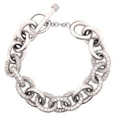 14.47 Carat Diamond Chain Pave and Hammer Finished Bracelet 18 Karat White Gold