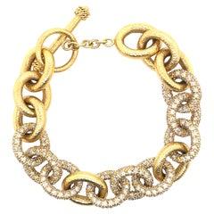 14.47 Carat Diamond Chain Pave and Hammer Finished Bracelet 18 Karat Yellow Gold